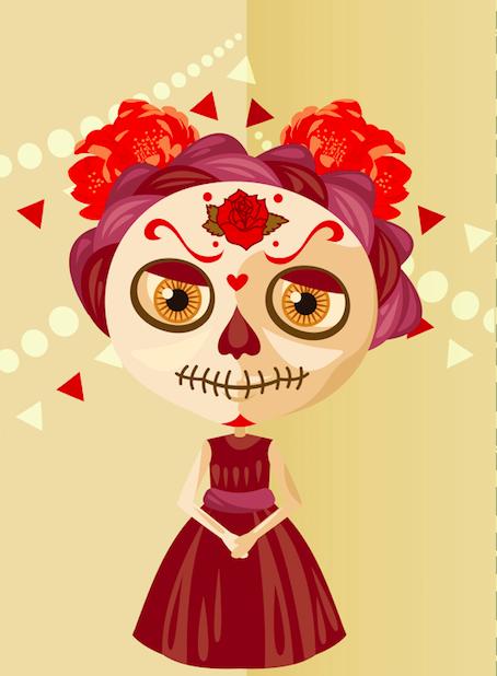 Calaquita preparada en el Dia de Muertos para encontrarse con su abuela Calaca.